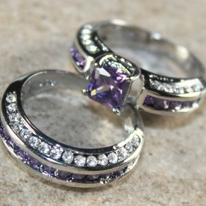 Jewelry - Purple Amethyst CZ 2PC Silver Ring Set